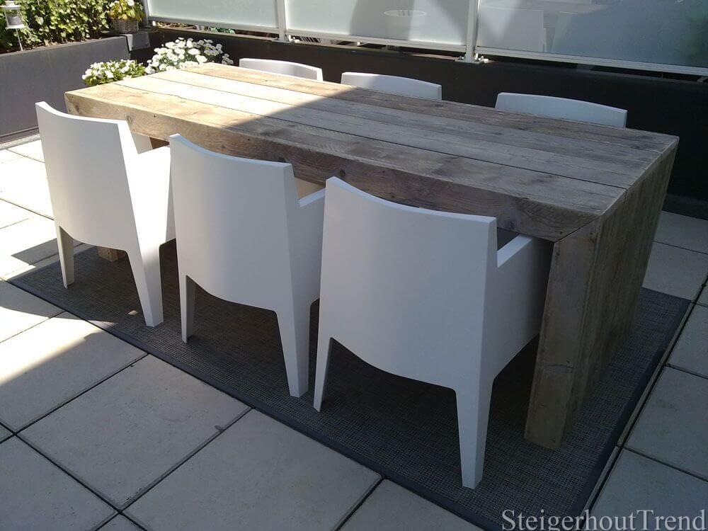 Industriële ronde tafel steigerhout op maat laten maken exclusief