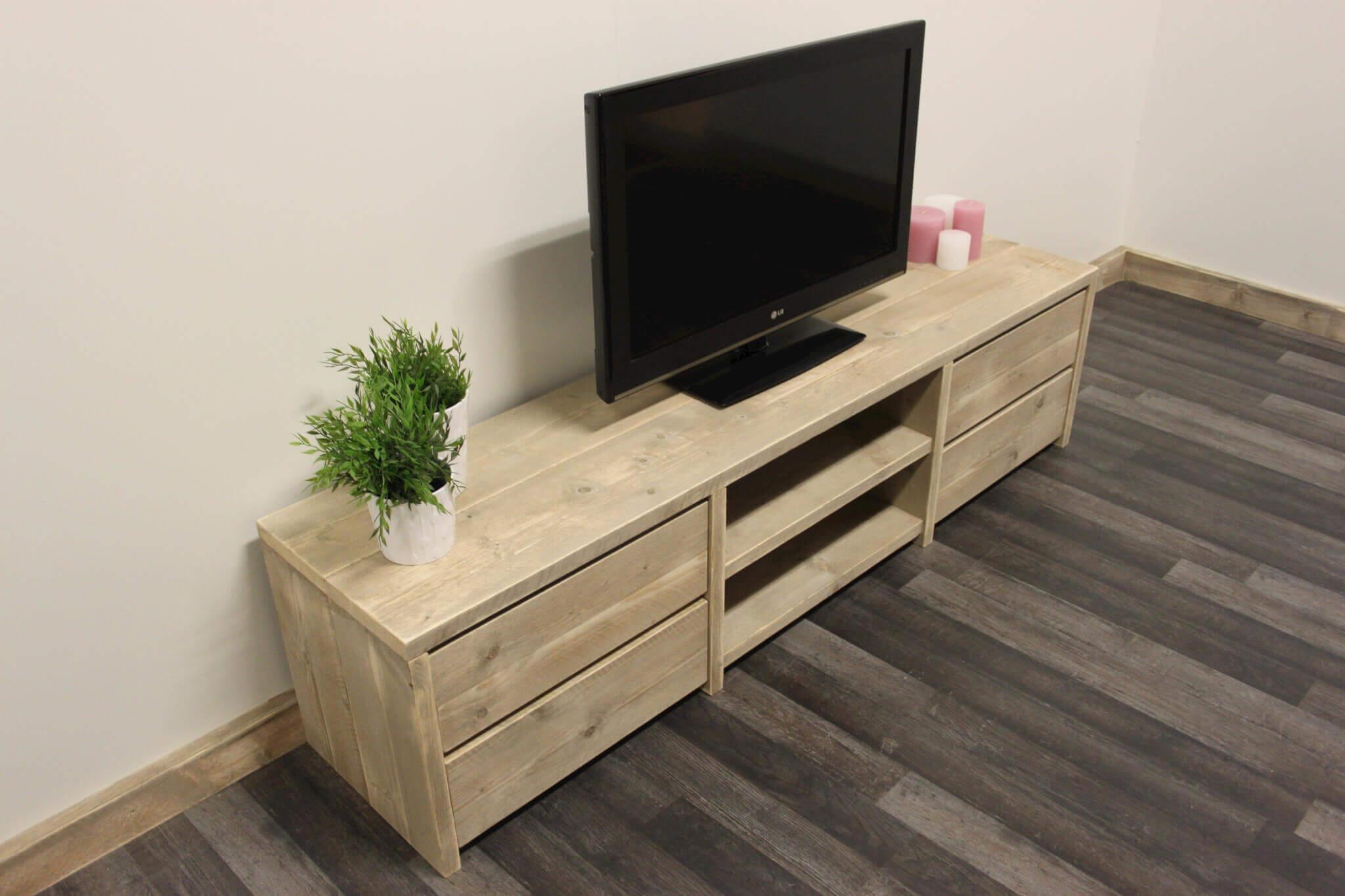 Steigerhouten TV meubel met 4 laden Audio vak van minimaal 45 cm ...