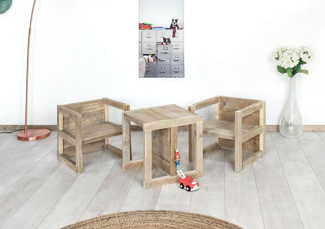 Steigerhouten tafel/stoel Benson