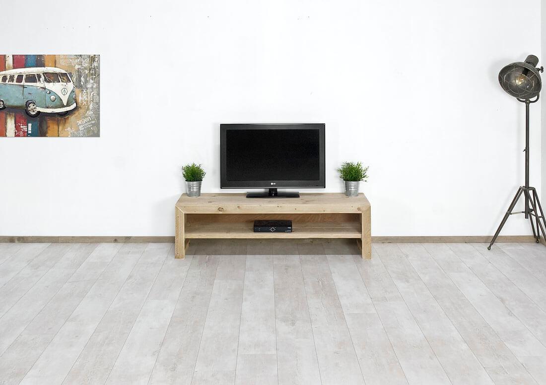Steigerhouten tv meubel mio met legplank