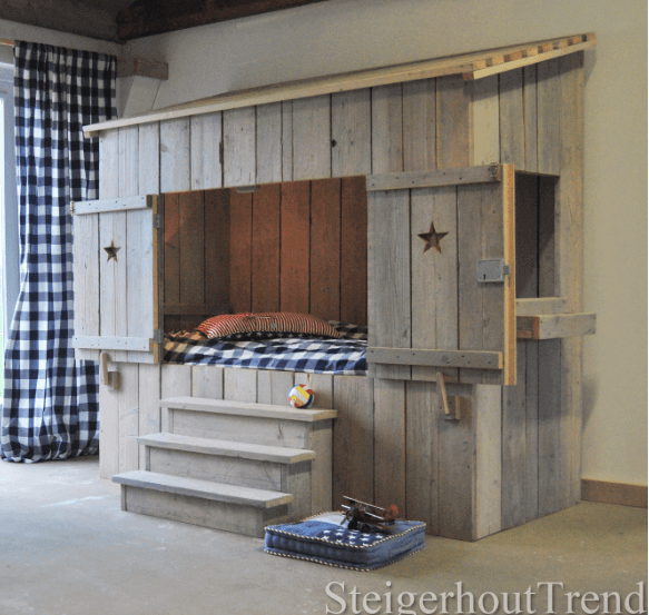 steigerhouten bedstee elko steigerhouttrend. Black Bedroom Furniture Sets. Home Design Ideas