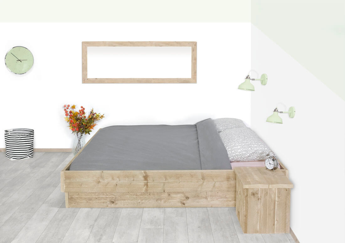 Steigerhouten bed Marlin