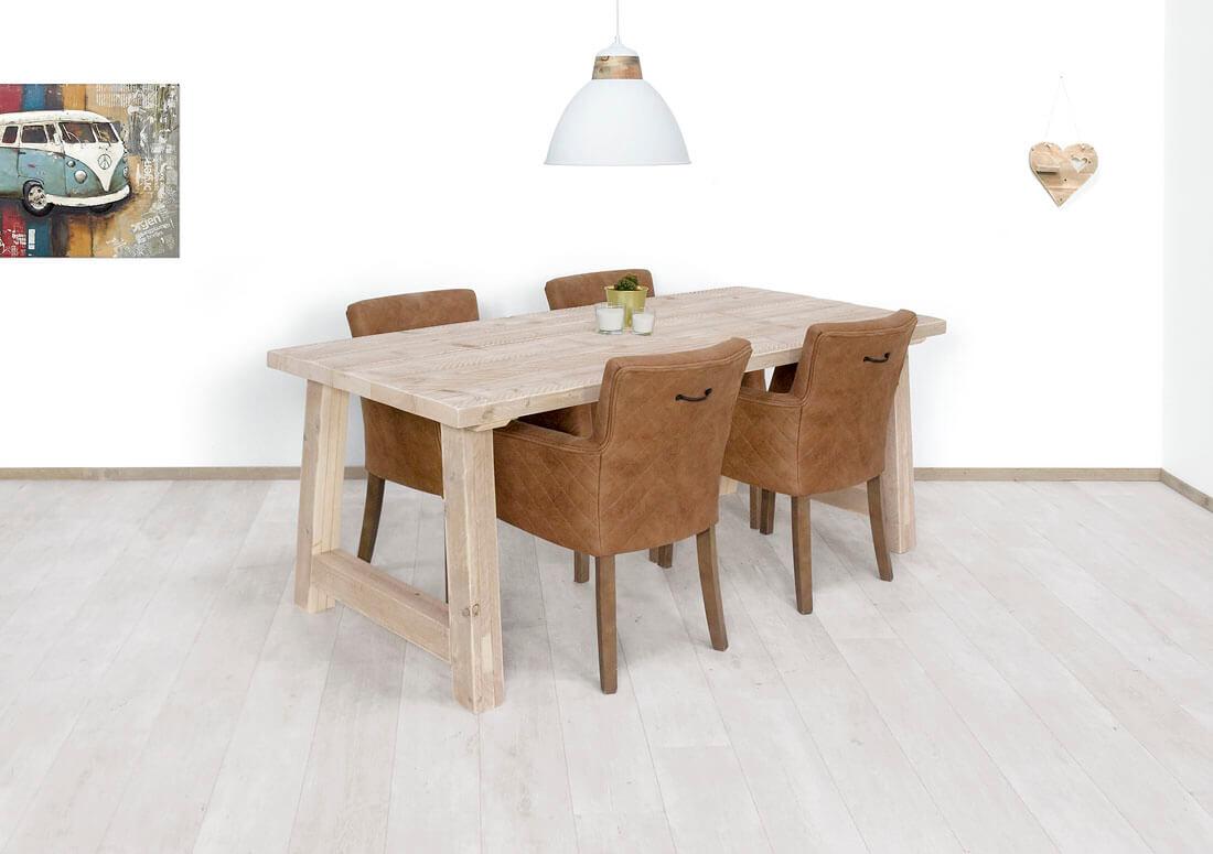 Steigerhouten tafel Vernon met dik blad