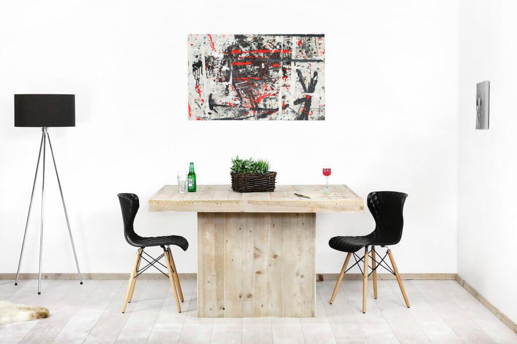 Vierkante Eettafel Met Kolompoot.Steigerhouten Vierkante Tafel Pierre Met Kolompoot