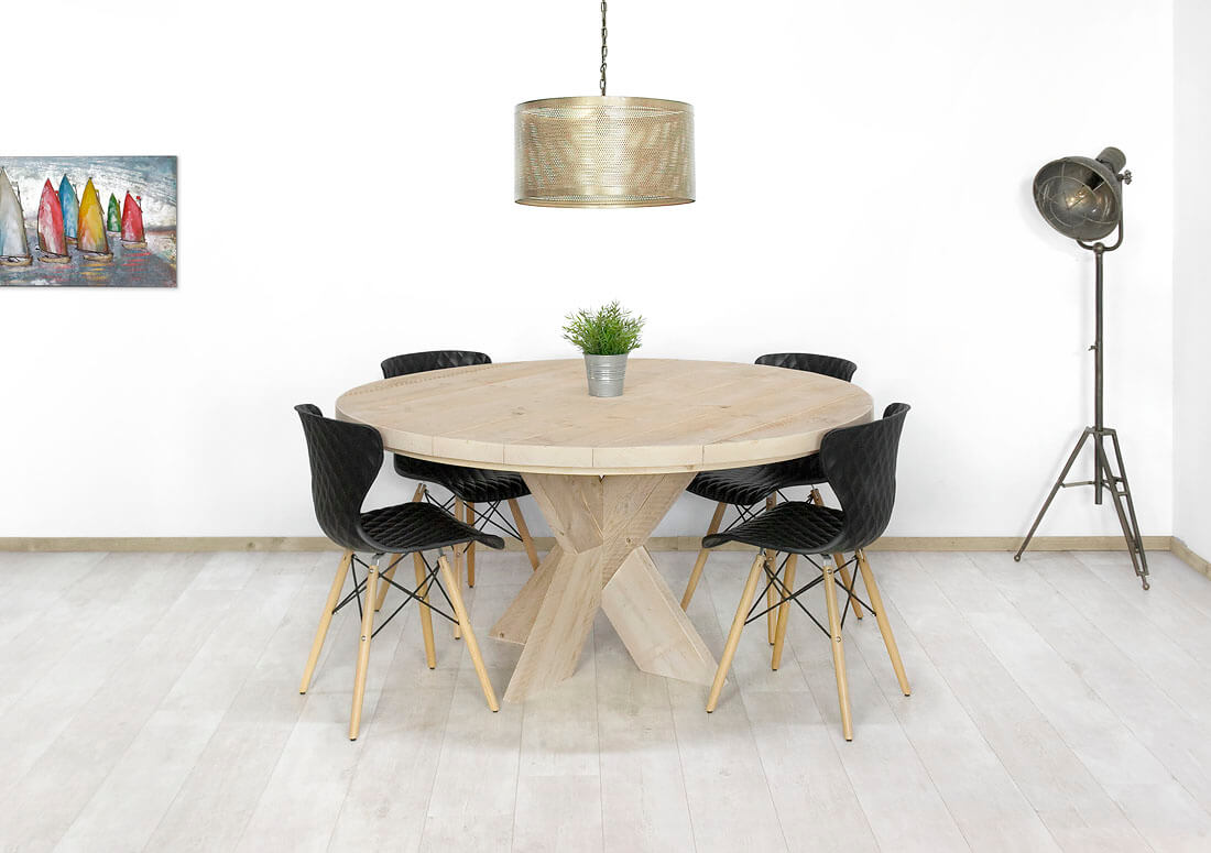 White Wash Ronde Eettafel.Steigerhouten Tafel Bluff White Wash En Nano Coating Diameter 120