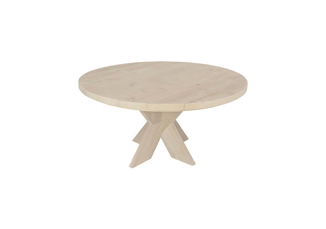 Ronde Tafel Steigerhout : Steigerhouten tafel bluff met rond blad en kruispoten