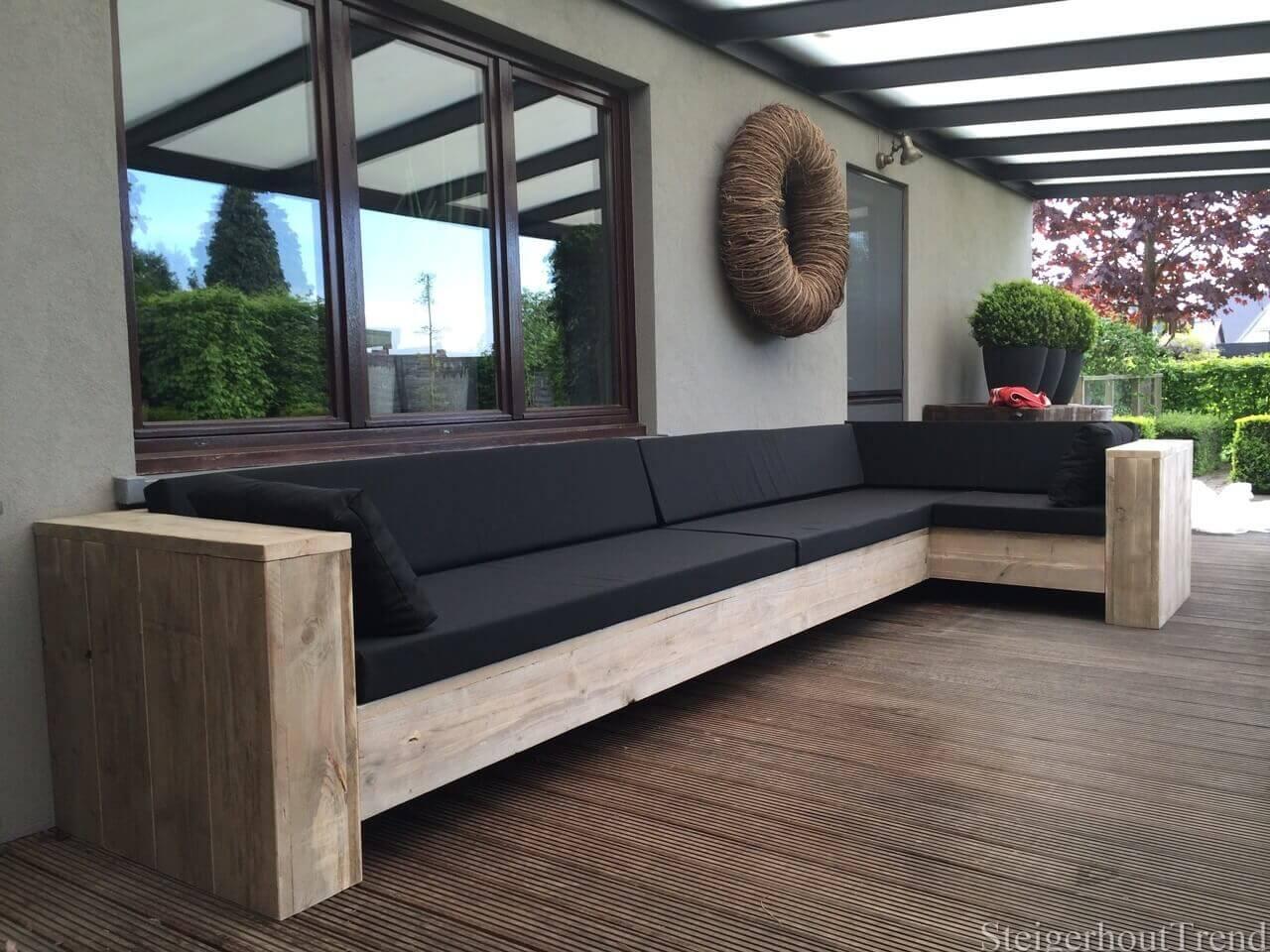 Steigerhouten loungebank tucson steigerhouttrend for Steigerhout loungeset zelf maken