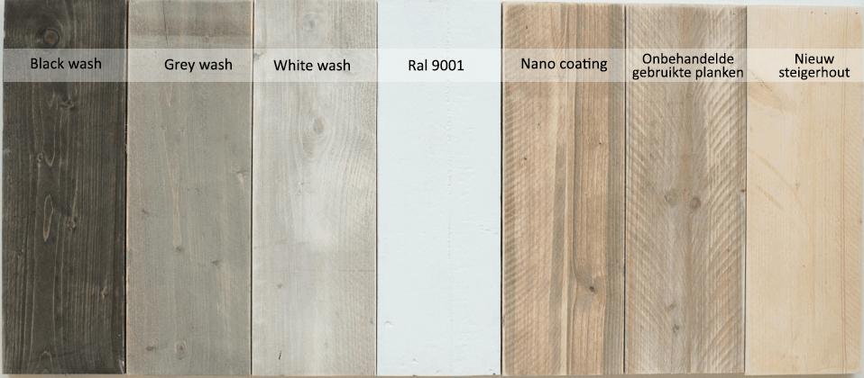 Behandeling van steigerhouten meubelen:black wash, grey wash, white wash, ral 9001, nano coating
