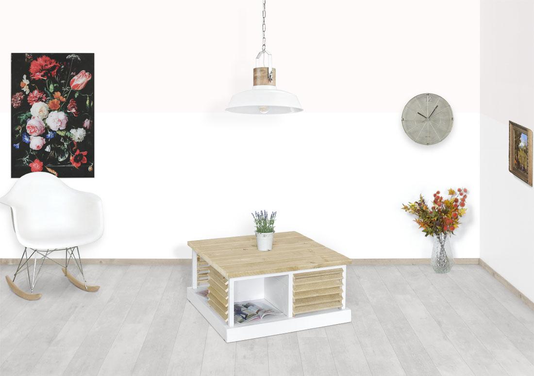 Super Mooie Salon Tafel.Steigerhouten Salontafel Rosewell Met Shutters