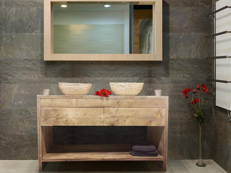 Steigerhouten badkamer meubel