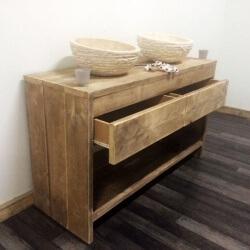Steigerhouten meubelen voor badkamer