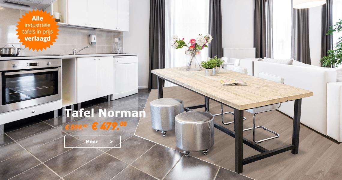 Steigerhouten robuuste industriele tafel Norman