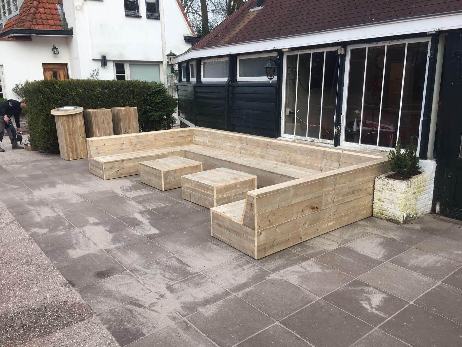 Steigerhouten loungeset superior tuinbanken van steigerhout for Loungebank steigerhout