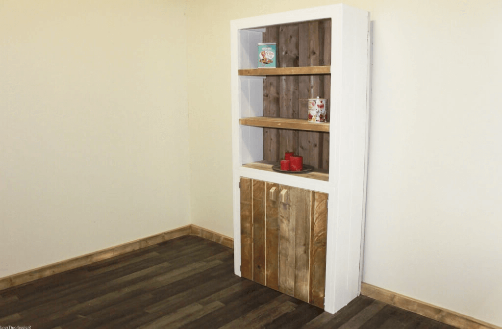 Boekenkast met deur licht eikenhoogglans wit leen bakker met witte