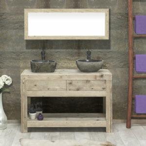 Steigerhouten badkamermeubel met 2laden Spur