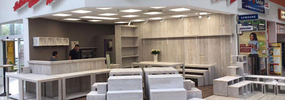 Inrichting steigerhout winkel door LoodsXL