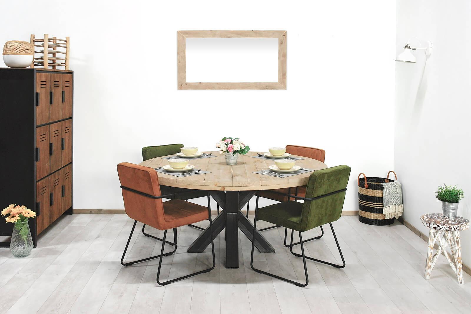 Steigerhouten industriële tafel Kona
