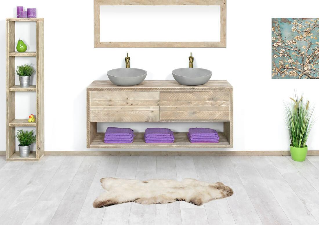 Steigerhouten badkamermeubels op maat gemaakt voor thuis en bedrijf