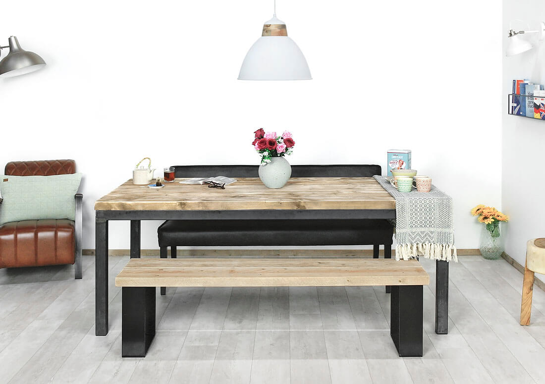 Steigerhouten industriele tafel Aloy