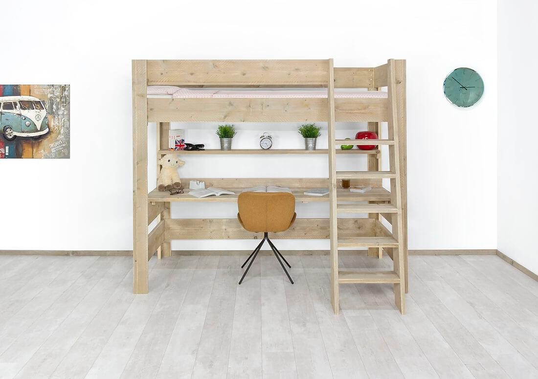 Steigerhouten hoogslaper met bureau Malo