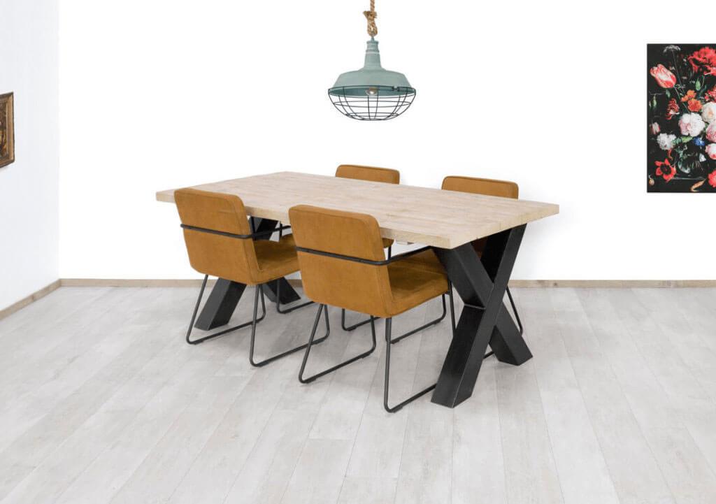 Kruispoot (X poot) steigerhouten industriele tafel Bangor