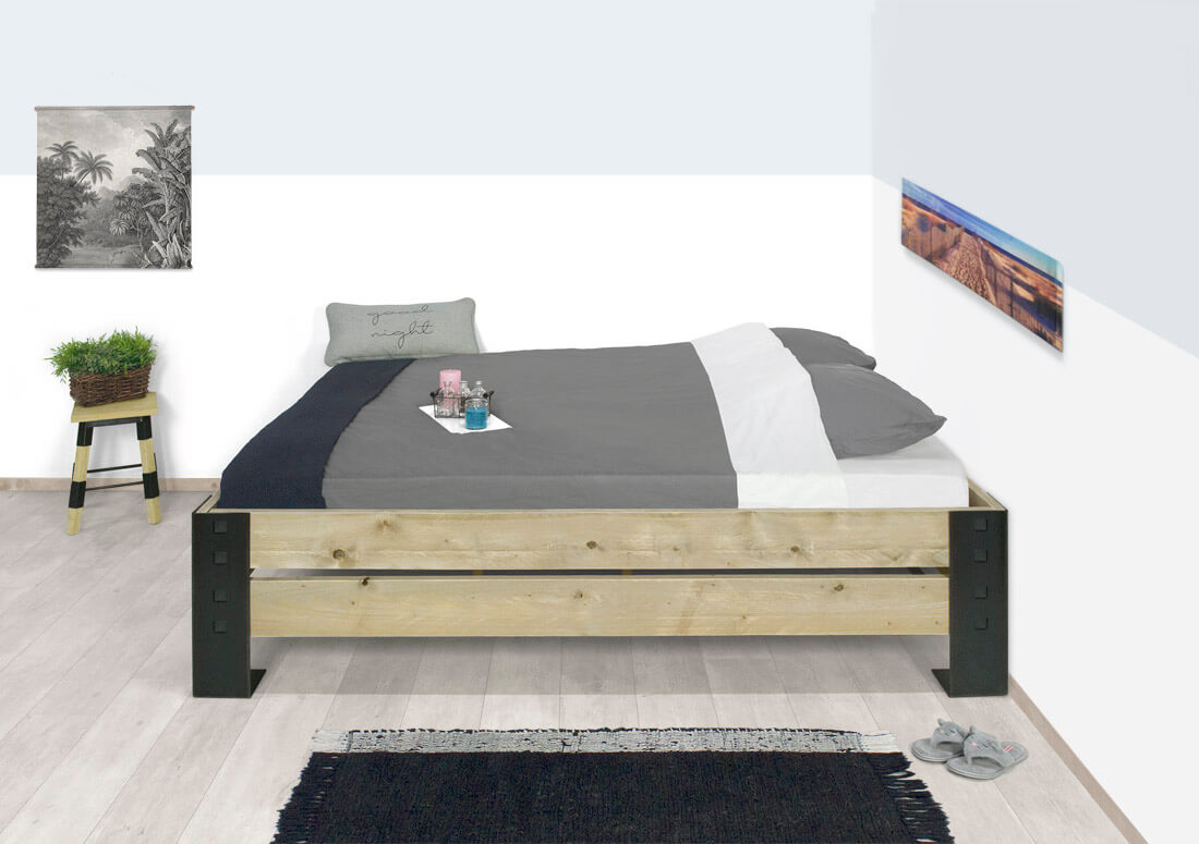 Steigerhouten bed Alix