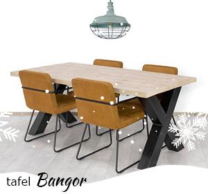 Tafel Bangor van steigerhout met kruispoten