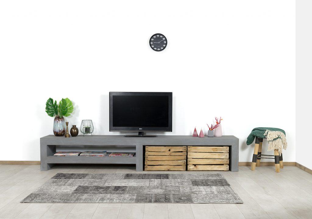 Betonlook TV meubel Dulce met middensteun