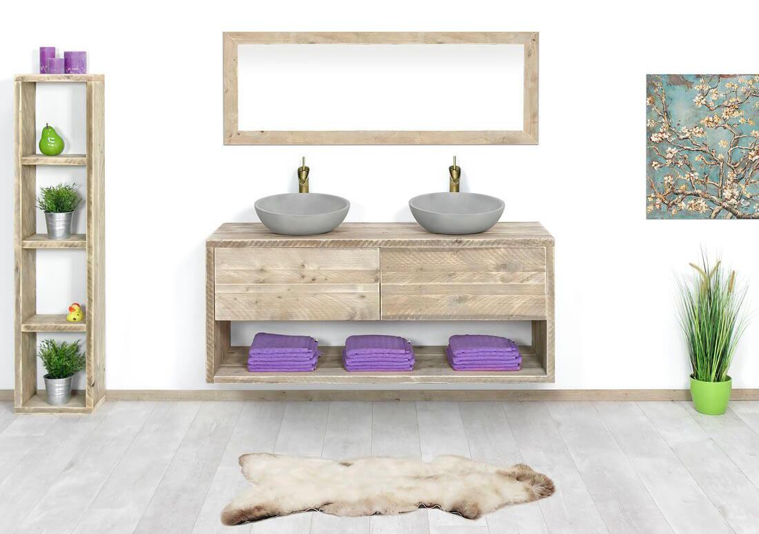 Steigerhouten zwevend badmeubel vila met lade en legplank