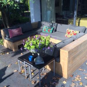 Steigerhouten Tuinbank Elgin zonder armleuningen met dichte achtezijde