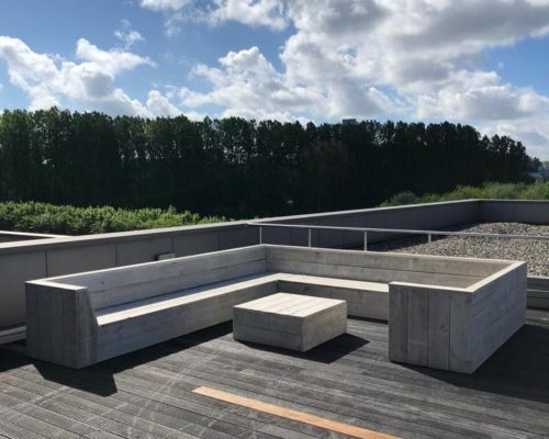 L-form loungebank steigerhout Adel voor dakterrras
