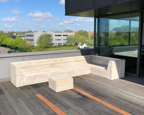 Loungebank steigerhout Adel op dakterras