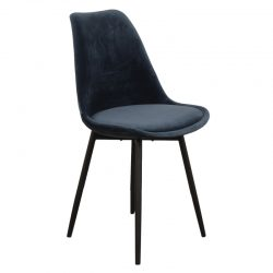 leaf chair velvet - donkerblauw
