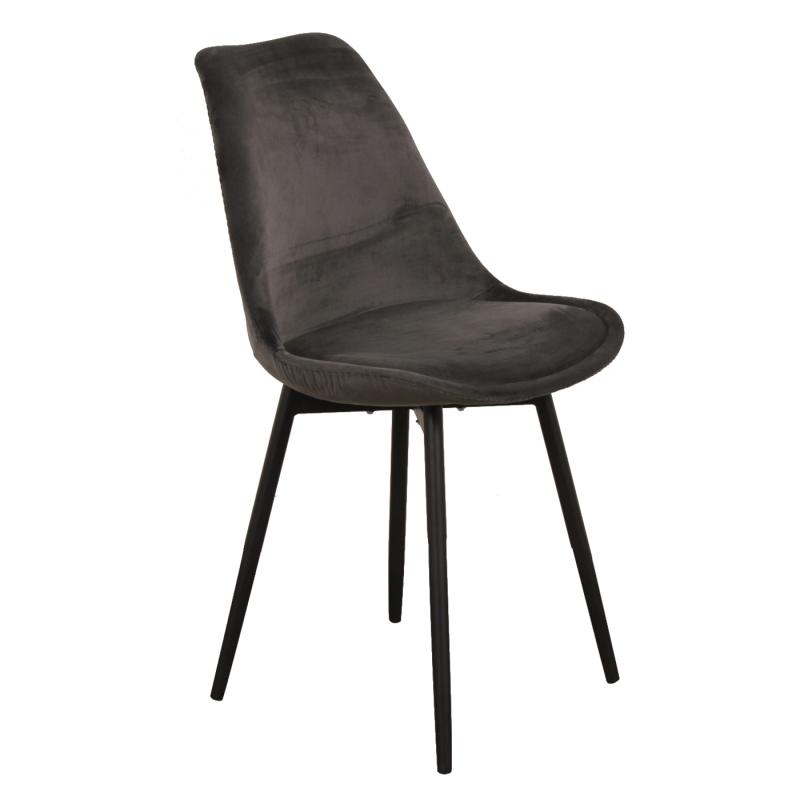 leaf chair velvet donkergrijs