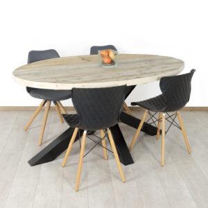 Steigerhouten tafel Lyles met ovaal blad en matrixpoot