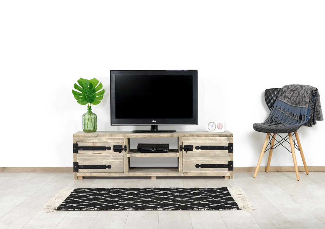Steigerhouten TV meubel Weston met industriele scharnieren