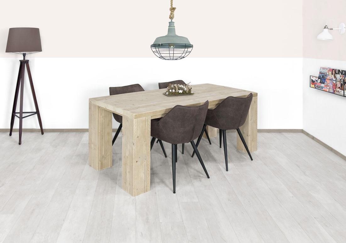 Steigerhouten tafel Columbus met blokpoten
