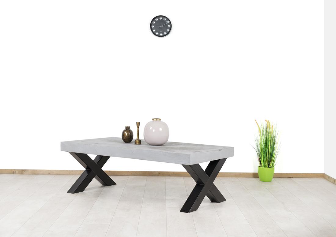Betonlook salontafel Gilford met industriële X poten
