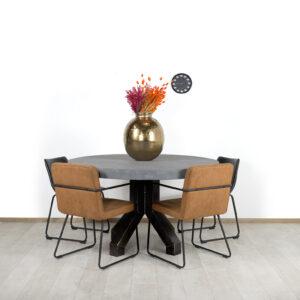 Ronde betonlook tafel Upton met robuuste stalen poot