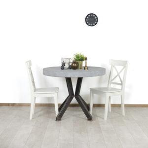 Betonlook tafel Cooper met smalle stalen poten