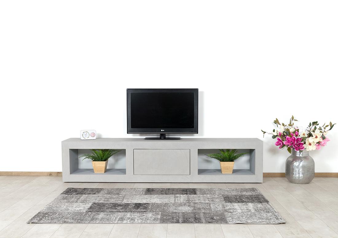 Betonlook TV meubel Parker met vakken en klep