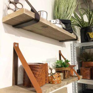 Leren plankdragers met steigerhouten of eikenhouten plank