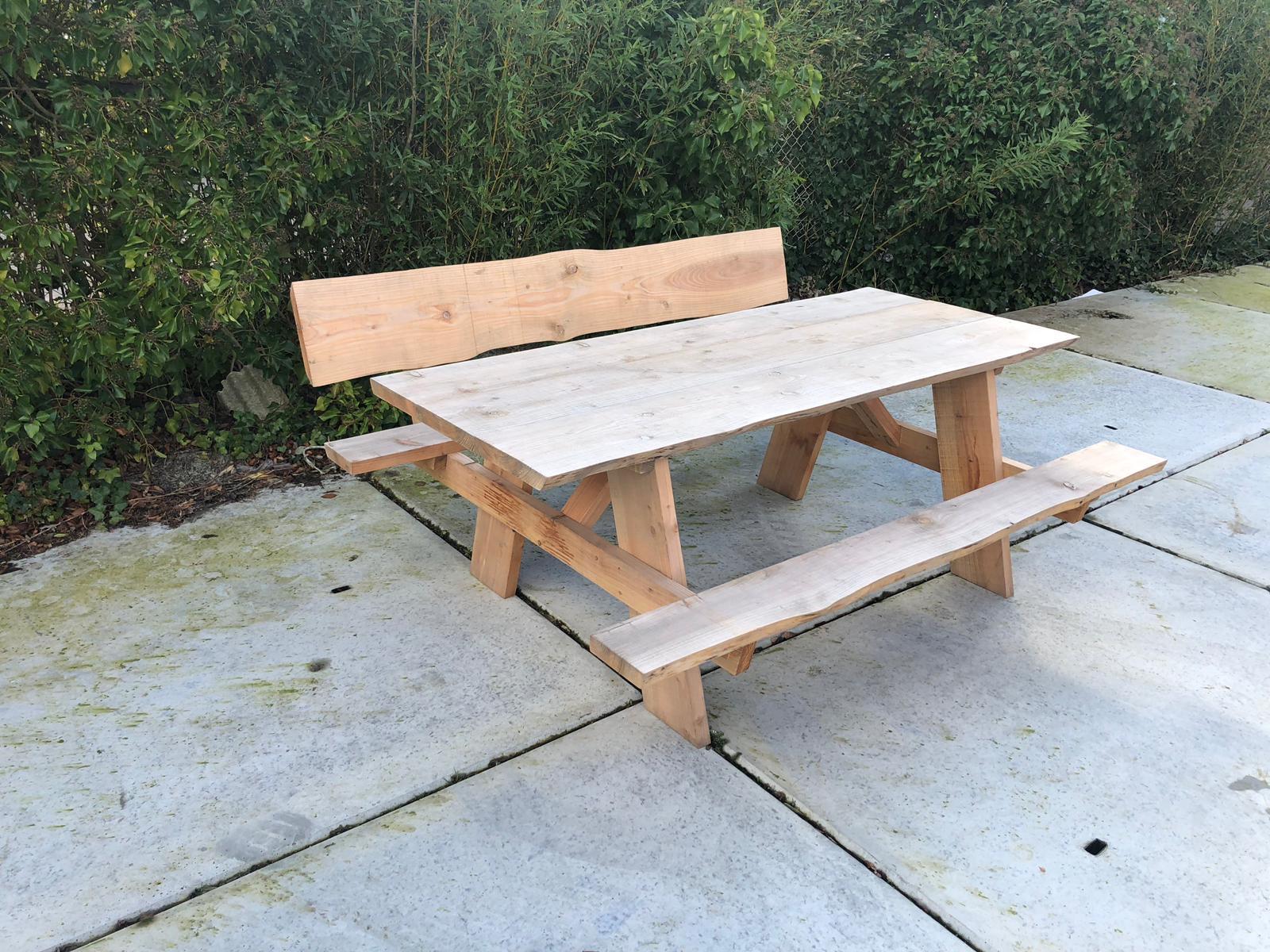 Douglas hout picknicktafel Lodi met rugleuning