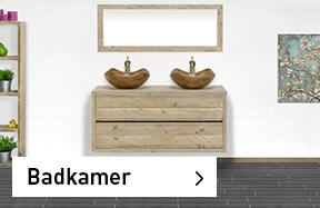 Meubelen voor badkamer van steigerhout, eikenjhout en met betonlook