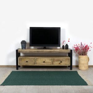 Mangohout TV meubel Ninde met industrieel frame en lades