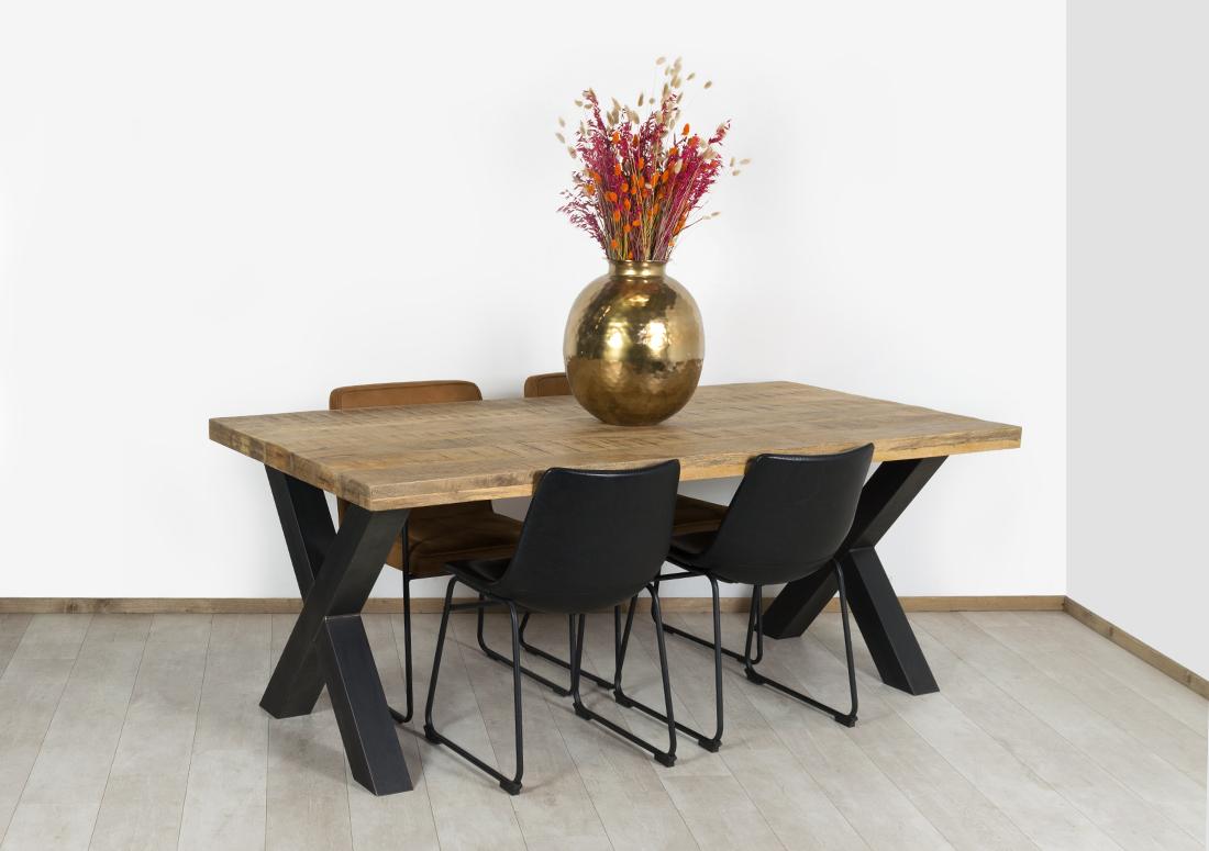 Mangohout tafel Early met stalen kruispoten