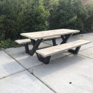 Steigerhouten picknicktafel Mingo met X poten