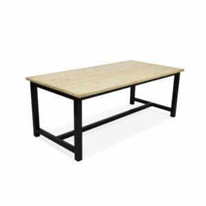 Eikenhouten tafel Palco met stalen onderstel