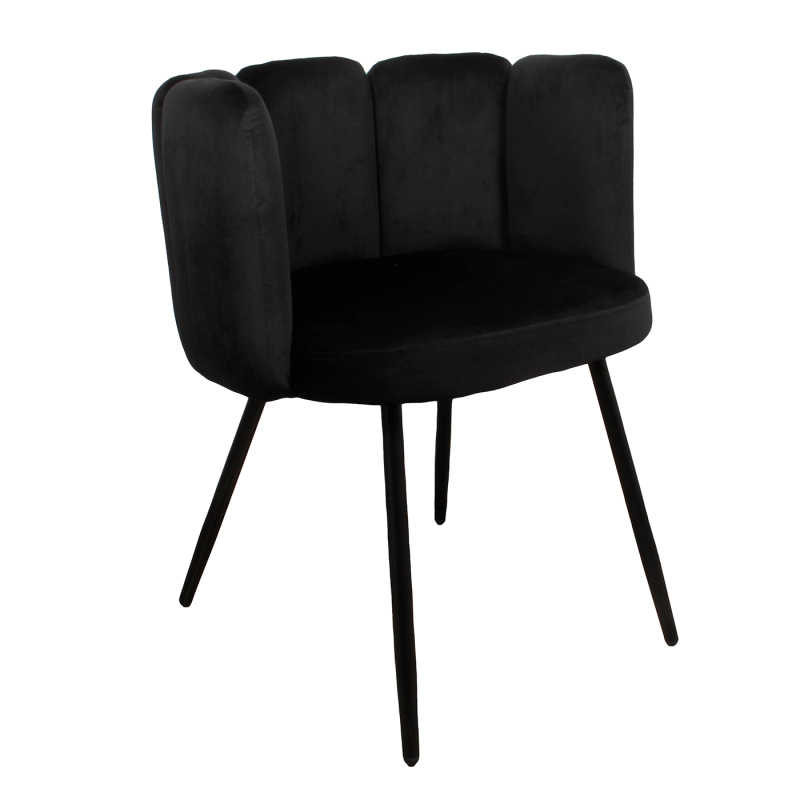 High five chair velvet - zwart