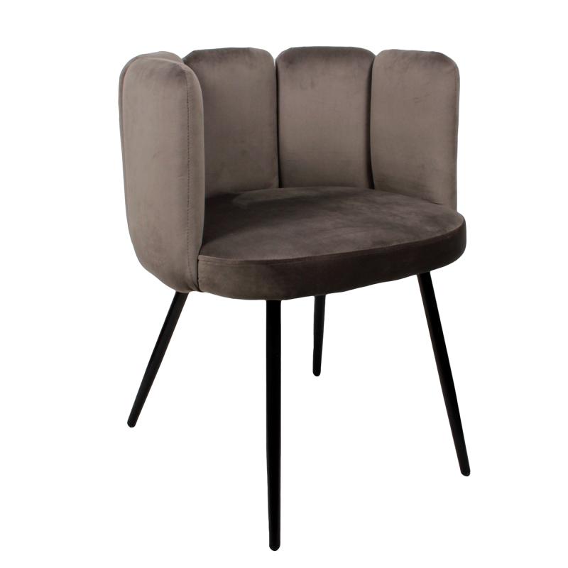 High five chair velvet - donkergrijs